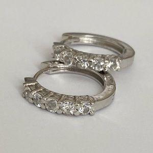 Big clear topaz stones 925 silver trendy earrings